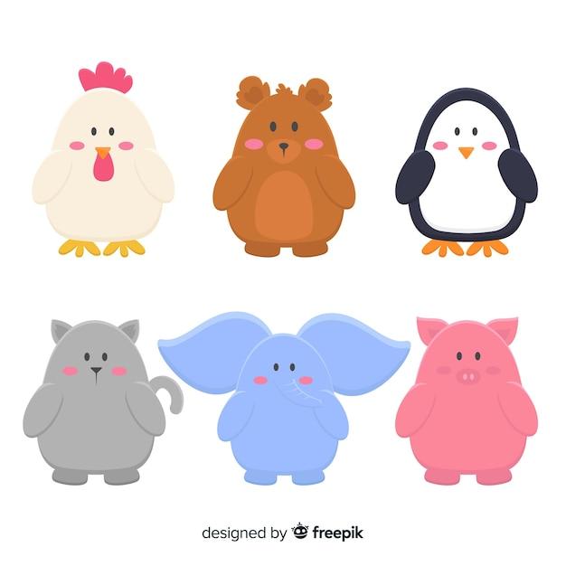 Набор рисованной милые животные Бесплатные векторы