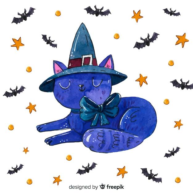 コウモリと星と水彩のハロウィーン猫 無料ベクター