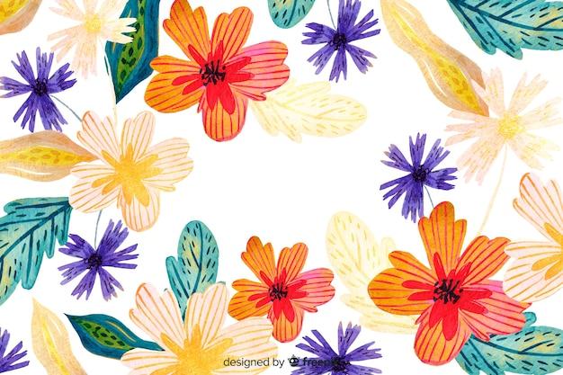水彩画の抽象的な花の背景 無料ベクター