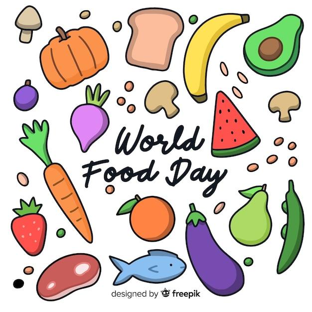 Ручной обращается дизайн всемирный день еды Бесплатные векторы