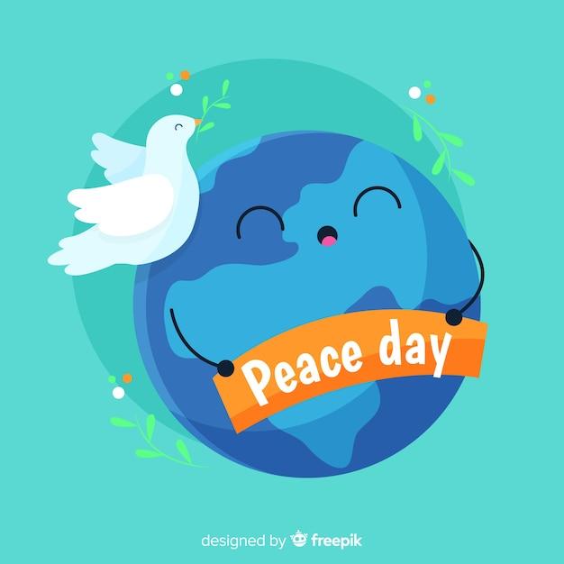 Концепция дня мира с голубем Бесплатные векторы