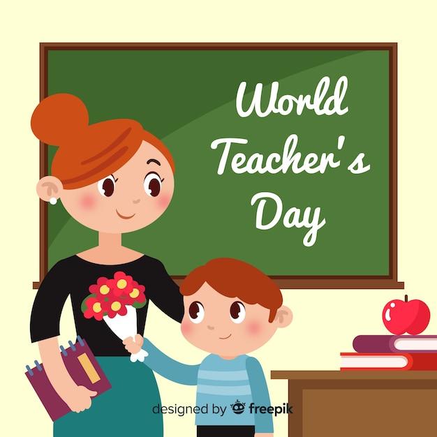 Плоский день учителя мира дизайна Бесплатные векторы