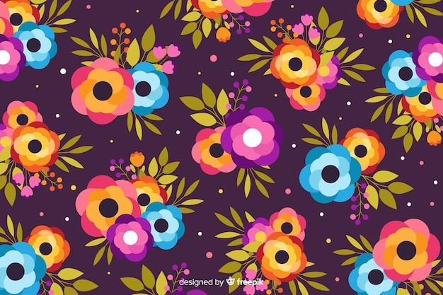 Плоский дизайн фиолетовый цветочный фон Бесплатные векторы