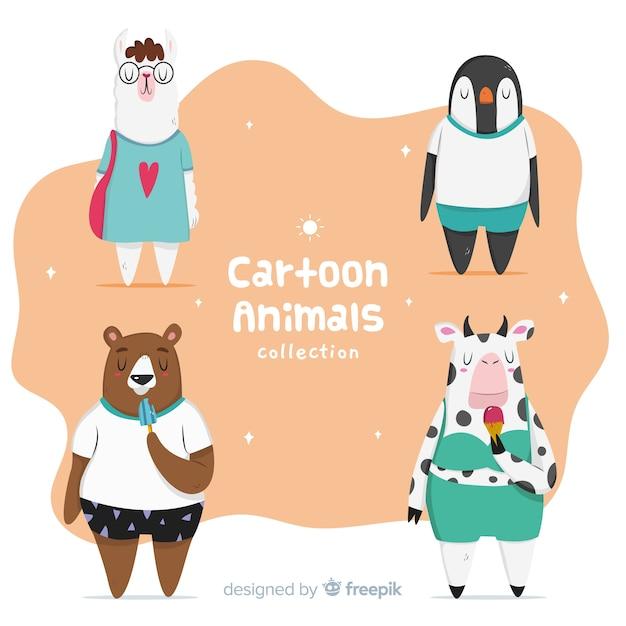 Одетая мультяшная коллекция животных Бесплатные векторы