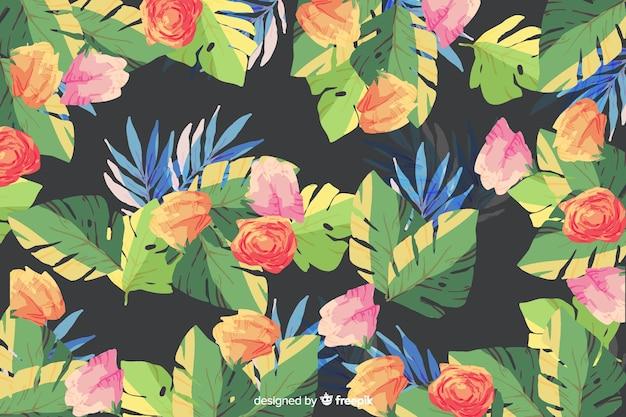 黒の背景に水彩画の花の背景 無料ベクター