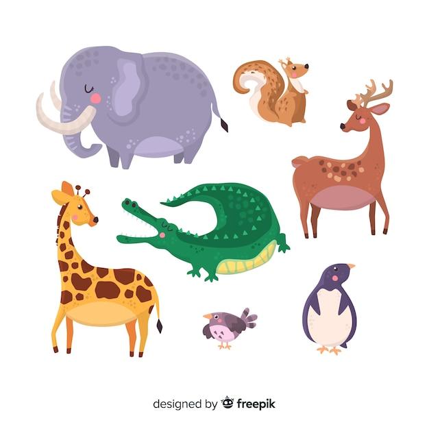 手描きの愛らしい動物コレクション 無料ベクター