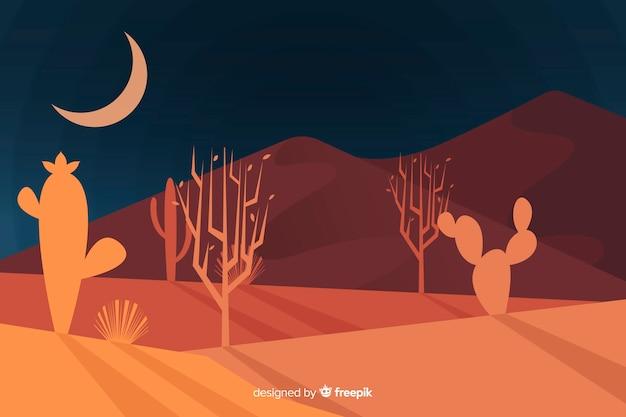 夜背景の砂漠の風景 無料ベクター