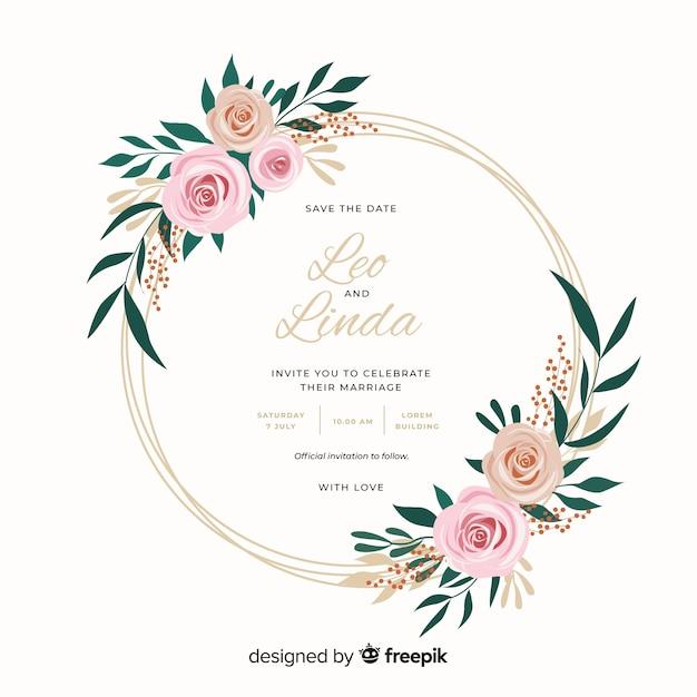 花のフレームの結婚式の招待状の美しいフラットデザイン 無料ベクター