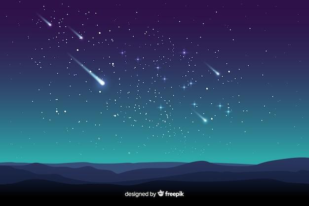 Градиентный фон звездной ночи с упавшими звездами Бесплатные векторы