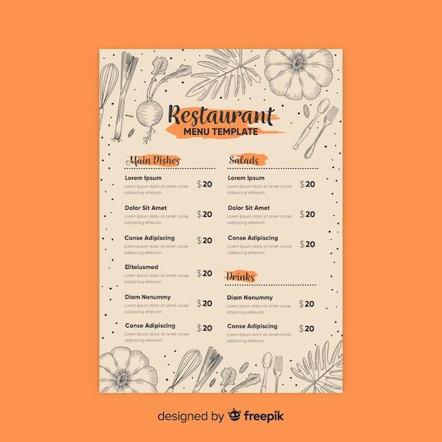 Элегантный шаблон меню ресторана с рисунками Бесплатные векторы