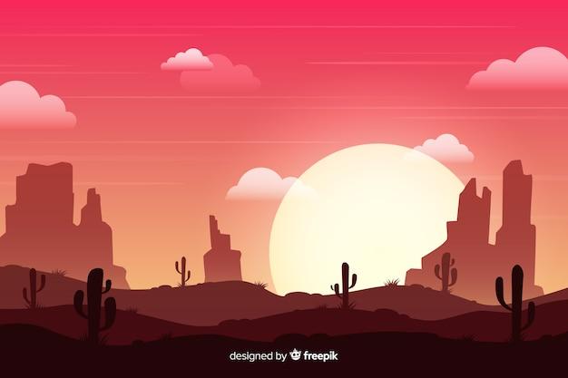 日没の砂漠の風景 無料ベクター