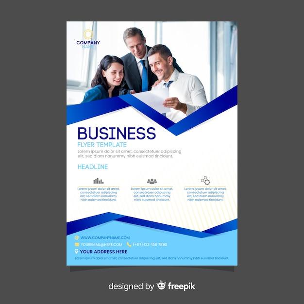 Абстрактный бизнес флаер с фото Бесплатные векторы