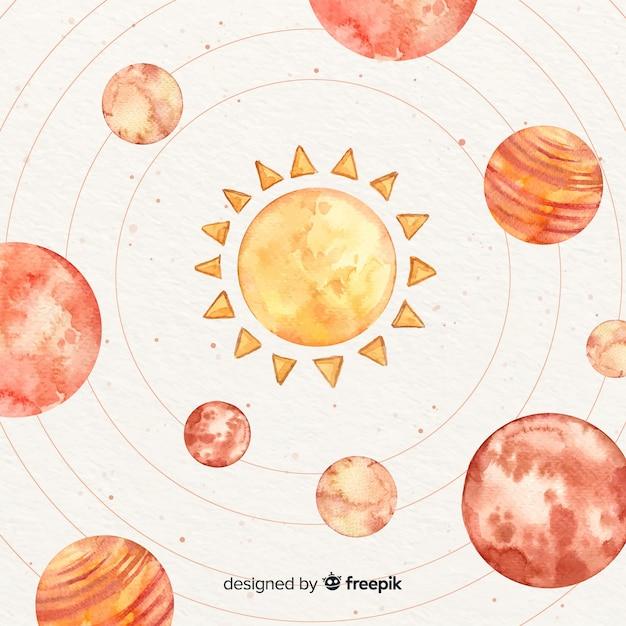 Акварельные планеты, вращающиеся вокруг солнца Бесплатные векторы