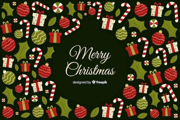 クリスマスの背景のフラットなデザイン 無料ベクター