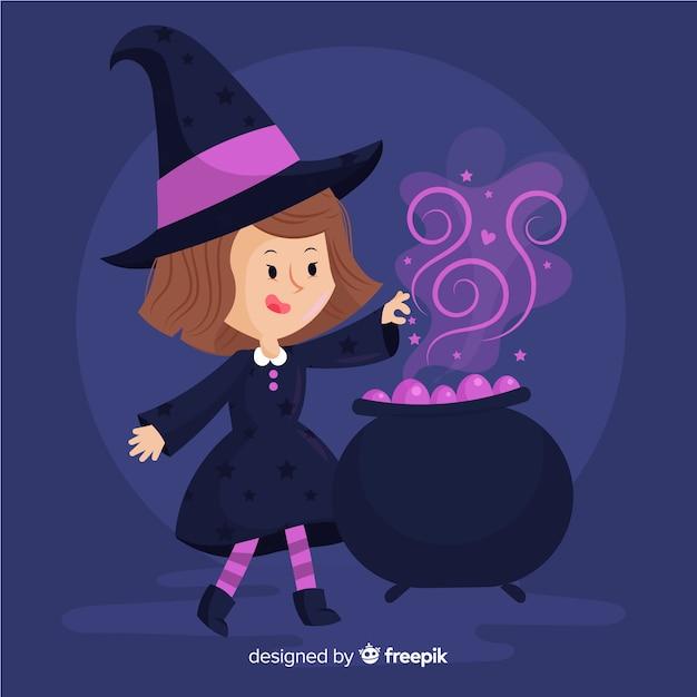 魔法のためにるつぼを使用する魔女 無料ベクター