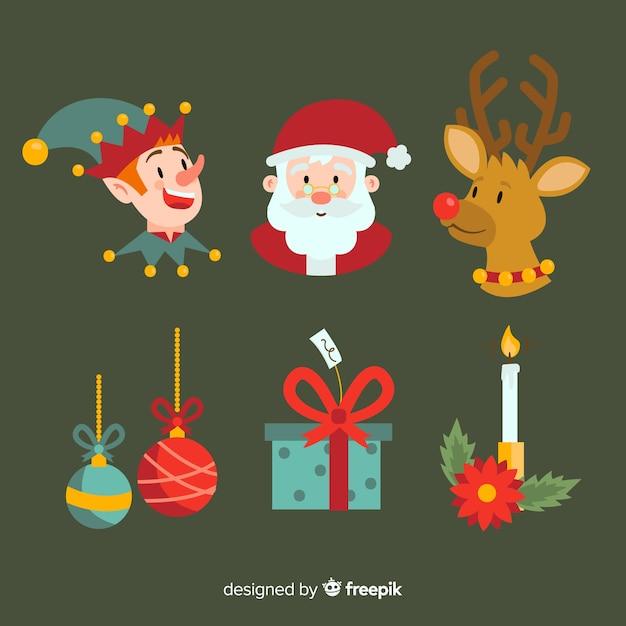 フラットクリスマス要素コレクション 無料ベクター