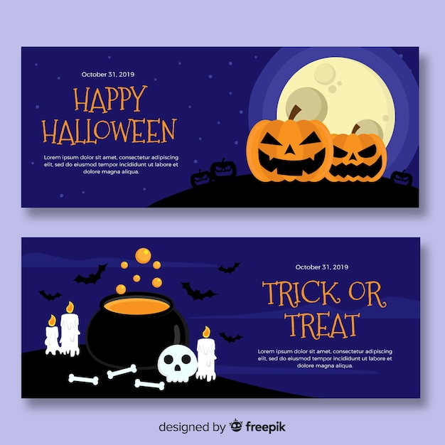 Плоская ночь хэллоуина с лунными знаменами Бесплатные векторы
