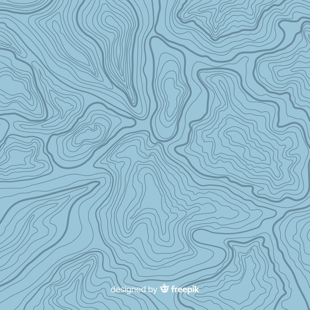 Вид сверху топографические синие линии фон Бесплатные векторы