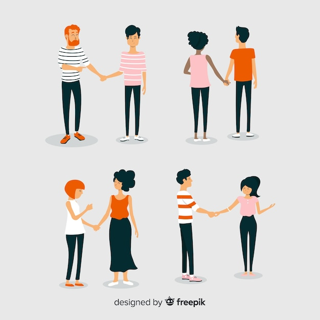 Молодые пары гуляют вместе Бесплатные векторы