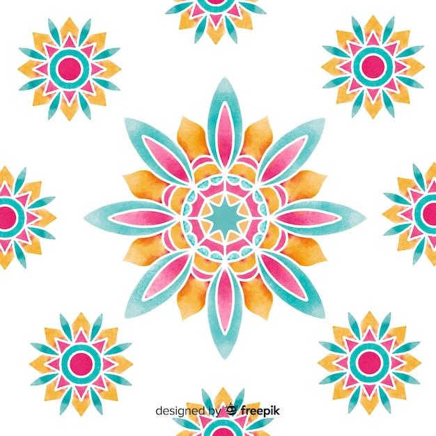 Акварель декоративный цветочный фон Бесплатные векторы