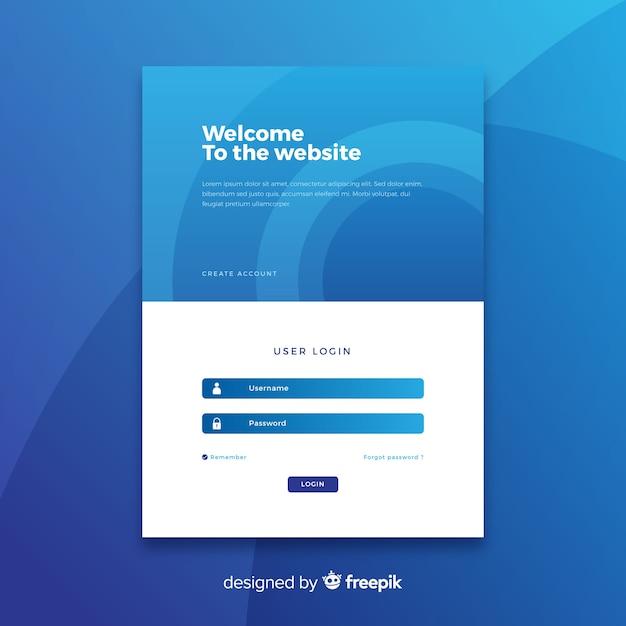 Войти синюю целевую страницу Бесплатные векторы