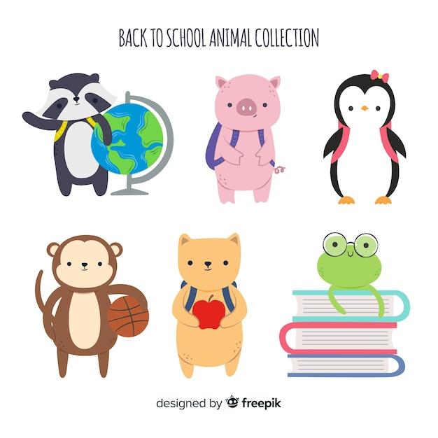 ペンギンと一緒に学校の動物コレクションに戻る 無料ベクター
