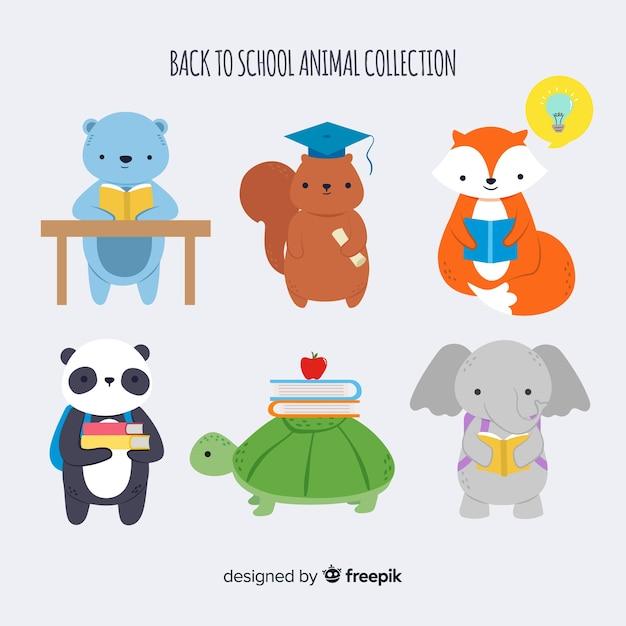 パンダと一緒に学校の動物コレクションに戻る 無料ベクター