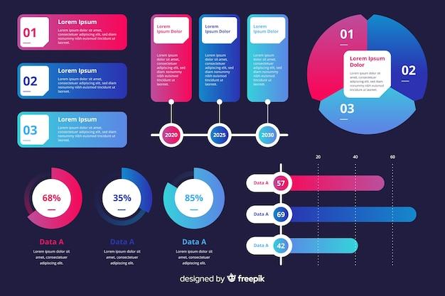 インフォグラフィックマーケティンググラフコレクションテンプレート 無料ベクター