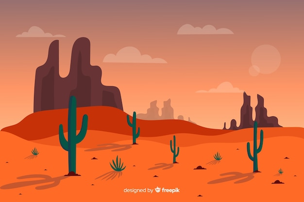 Длинный выстрел пустынного пейзажа Бесплатные векторы