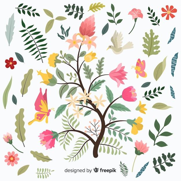 カラフルな花の枝のフラットなデザイン 無料ベクター