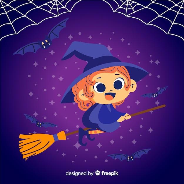 Милая ведьма хэллоуин на метле Бесплатные векторы