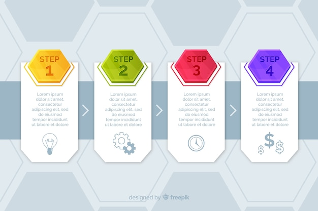 Шаблон шагов инфографики маркетинга Бесплатные векторы