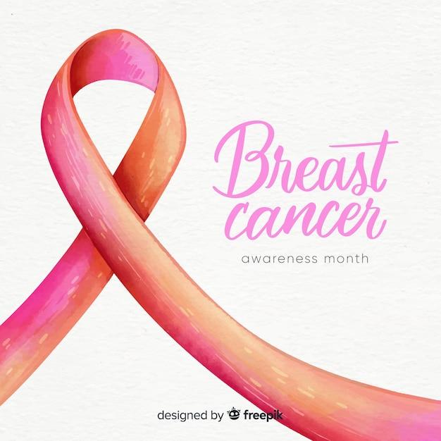 ピンクのリボンで乳がんの意識 無料ベクター
