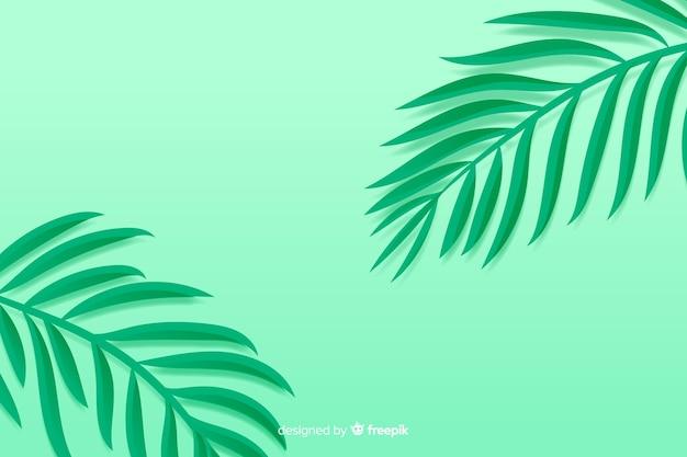 Монохромный фон зеленые листья в стиле бумаги Бесплатные векторы