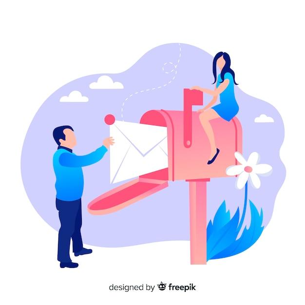 Концепция почтового ящика с парой и цветком Бесплатные векторы