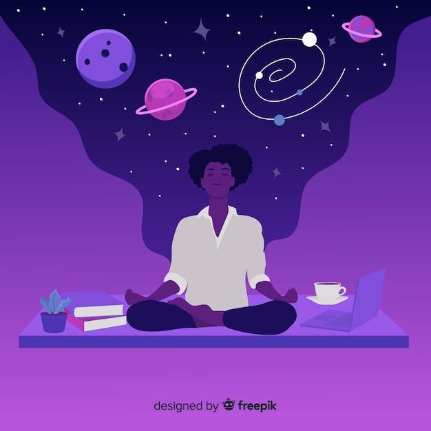 星と惑星の概念と美しい薬 無料ベクター