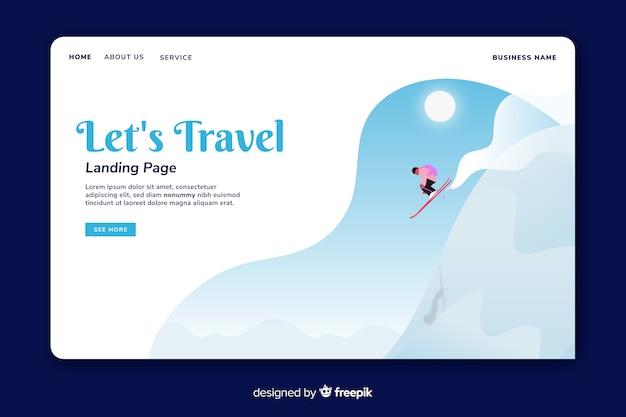 シンプルな旅行のランディングページテンプレート 無料ベクター