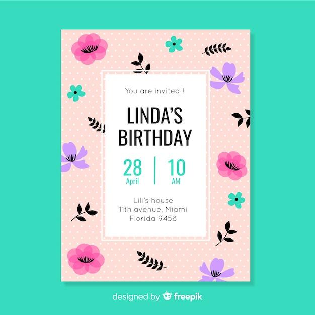 花柄のデザインで誕生日パーティーの招待状 無料ベクター