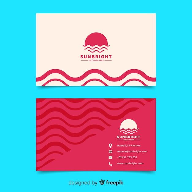 Абстрактный геометрический белый и красный шаблон визитной карточки Бесплатные векторы