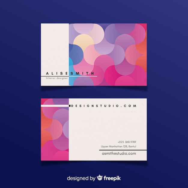Жидкий градиентный шаблон визитной карточки Бесплатные векторы