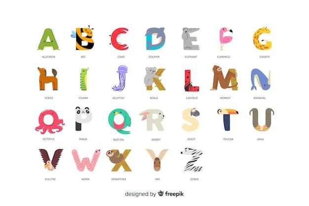Зоопарк алфавит с буквами в порядке Бесплатные векторы