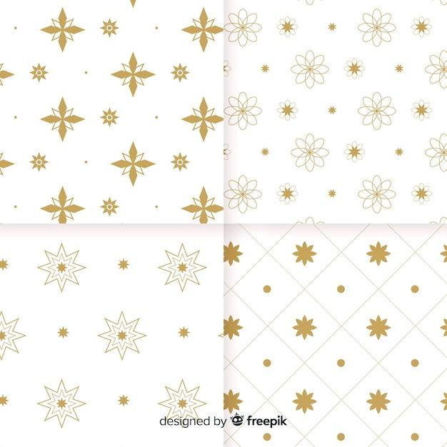 幾何学的な豪華な白と金色のパターンコレクション 無料ベクター