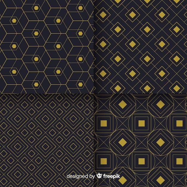 幾何学的な豪華な黒と金色のパターンコレクション 無料ベクター