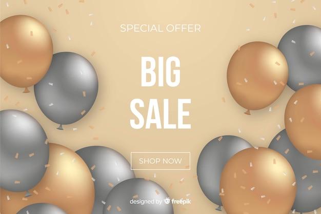 Реалистичная продажа фон с воздушными шарами Бесплатные векторы