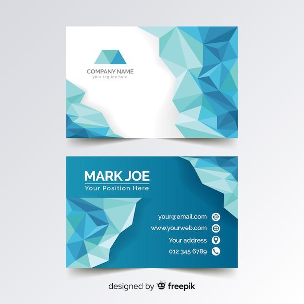 Абстрактный многоугольной синий шаблон визитной карточки Бесплатные векторы