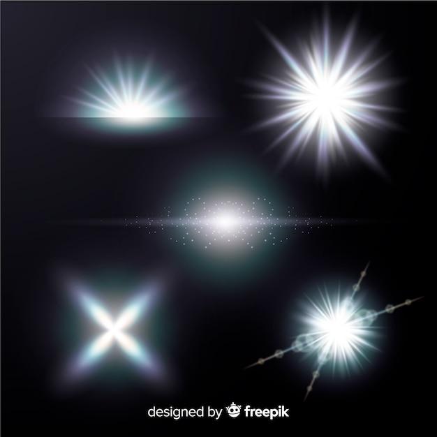 明るい白色光効果コレクション 無料ベクター