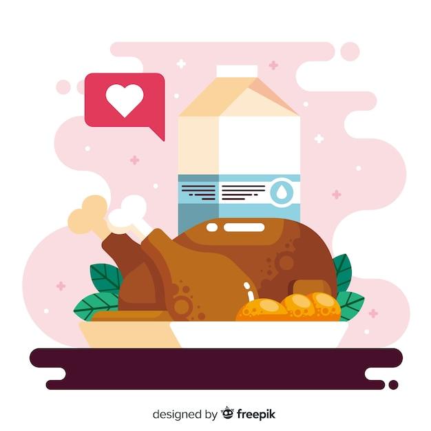 チキンとフラットなデザインの世界の食べ物の日 無料ベクター
