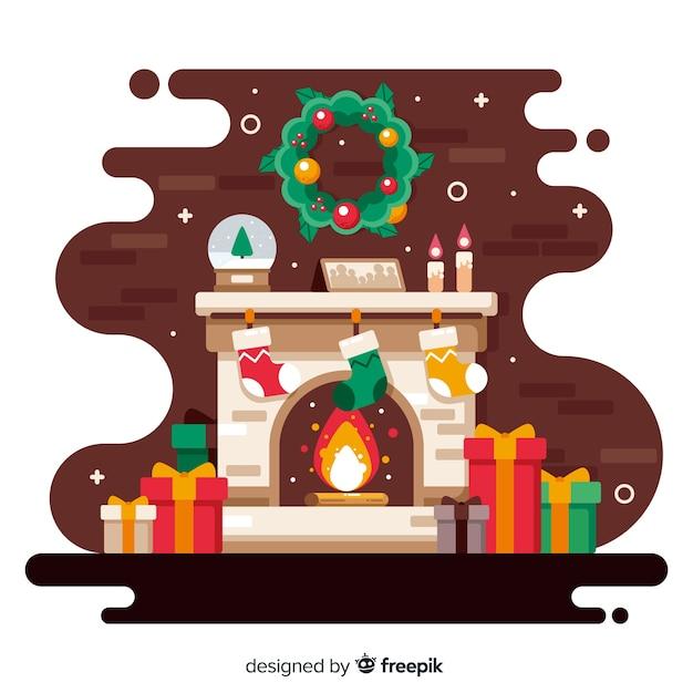Плоский дизайн новогоднего фона Бесплатные векторы