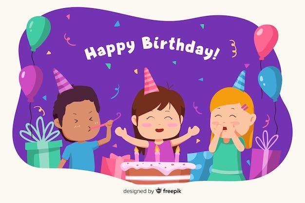 С днем рождения фон с детьми и торт Бесплатные векторы