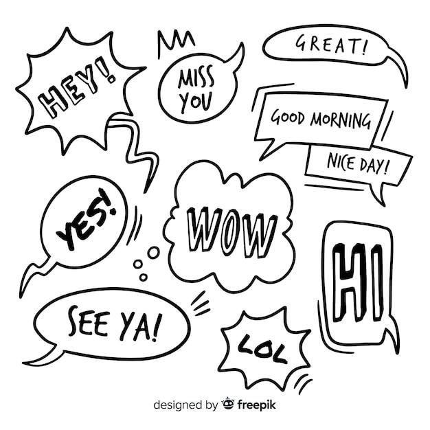 Ручной обращается речи пузыри с различными формами Бесплатные векторы